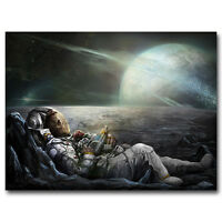 American Astronaut on the Moon Art Silk Poster 12x18 24x36