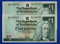 "2x 2001 Royal Bank of Scotland plc £1 One Pound ""C"" banknote CONSECUTIVE [21851]"