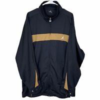 Jordan Full Zip Track Jacket Mens 2XL XXL Black Brown Striped Windbreaker Bomber