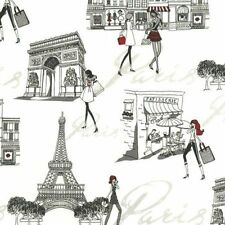 Timeless Treasures Paris Chic April in Paris Cotton Fabric C3623-White BTY
