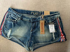 Rue 21 Juniors Size 7/8 Midi Stretch Blue Denim Jean Shorts Distressed/Destroyed