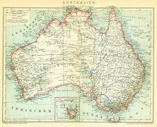 Landkarte anno 1905 - Australien - Down Under NSW Queensland Victoria Tasmanien