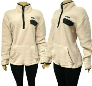 Victorias Secret PINK Fleece 1/4 Zip Pullover Sweatshirt Cream