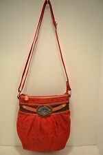 """""""RocaWear"""" red fabric & leather shoulder bag  Nice"""