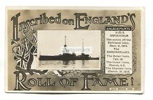HMS Inflexible, British battlecruiser - WW1 Bells' postcard with dumb cancel