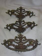 """3 Vintage Drawer Hardware Backs 1 Handle Brass Ornate Detailing 5 3/8"""" Long"""