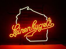 New Leinenkugels Wisconsin Beer Bar Store Real Glass Neon Light Sign Free Ship