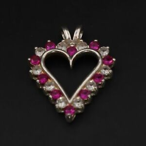 Sterling Silver - Ruby & White Sapphire Cluster Love Heart Pendant - 2.5g