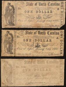 3 PC 1861 $1 ONE DOLLAR NORTH CAROLINA NOTES CURRENCY OLD PAPER MONEY