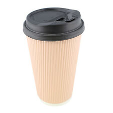 Lot45 Paper Cups with Lids, 100 Pk - 16 oz Coffee Cups with Rippled Sleeve, Pink
