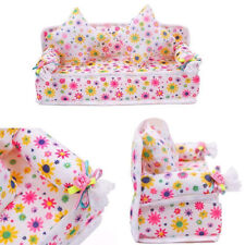 DI- Mini Furniture Flower Fabric Sofa Couch + 2 Cushions for Doll House Seraphic