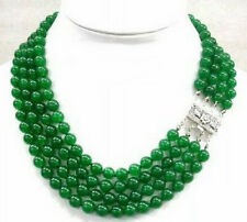 4 Rows 8mm Green Jade White Gold Plated Flower Clasp Necklace