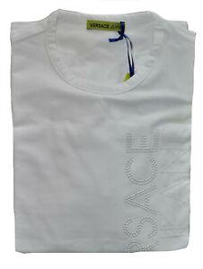Maglia Maglietta T-Shirt Manica Lunga Girocollo VERSACE JEANS Bianco White T-...