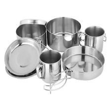 8 in 1 Camping Outdoor Cookware Cooking Picnic Bowl Pot Pan Set Stainless Steel