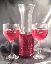 Personalized  Wine Decanter Set with Two  10 oz Red  Wine Glasses