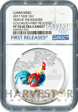 2017 LUNAR YEAR OF THE ROOSTER - 1 OZ. SILVER COIN - NGC PF70 FIRST RELEASES OGP