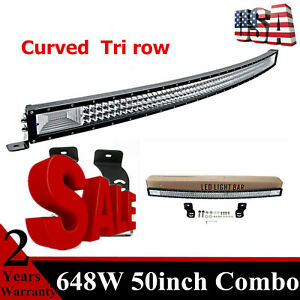 Curved 50'' 648W LED Light Bar Tri Row 7D+ fits Jeep Wrangler Roof Off Road TOP