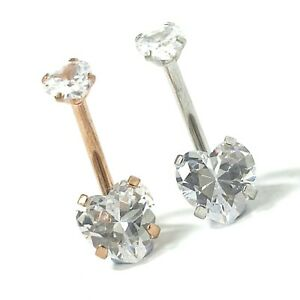 316L Surgical Steel Belly Bar Navel Double Heart Silver Rose Cubic Zirconia