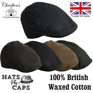 Quality British Waxed Cotton Flat Cap Waterproof Blue Brown Water Repellent Hat