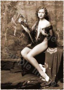 Vintage 118 1920's Erotic Female Nude Sepia Retro Art PHOTO REPRINT A4 A3 or A2