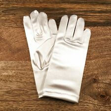 Girls White Satin Gloves - Size 4-6 Years