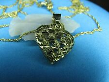 Beautiful Gold Necklace Heart Pendant 10K Solid Gold  21 Inches Long  15 Mm Wide