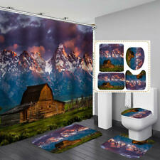 Mountain Chalet Shower Curtain Bath Mat Toilet Cover Rug Home Bathroom Decor
