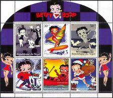 Níger 1999 Betty Boop/películas/cine/Comics/Caricaturas/animación 6v Sht (CS) (s1118)