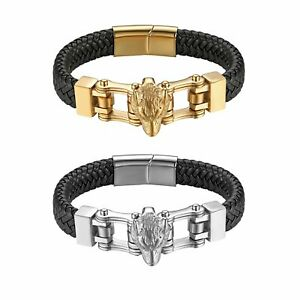 Stainless Steel Wolf Head Mens Bangle Bracelet - Braided Leather Magnetic Buckle