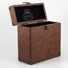 "Vinyl Record Case Single 7"" Storage DJ Retro Flight Box - Brown GPO"