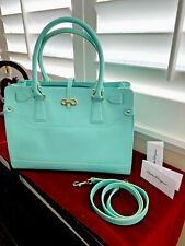 "Auth. SALVATORE FERRAGAMO Turquoise Pebble Calf Leather ""Briana"" Tote Bag NEW"