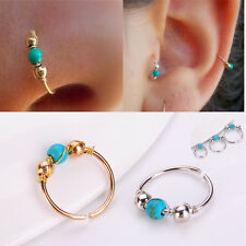 2pcs Boho Stainless Steel Turquoise Nostril Hoop Nose Ring Earring Body Piercing