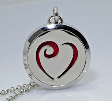 *Scroll Heart, Diffuser Necklace Locket Stainless Still, 10ml Oil, 11 pads, Gift
