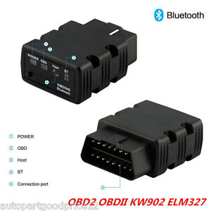 KW902 OBDll OBD2 ELM327 Bluetooth Car Auto Diagnostic Tool Code Scanner Adapter