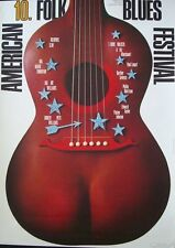 AMERICAN FOLK AND BLUES 1972 German A1 concert poster GUNTHER KIESER signed NM
