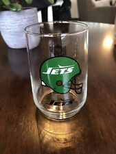 Vintage New York Jets Glass Cup Tumbler Ny Jets Nfl Football Throwback Logo