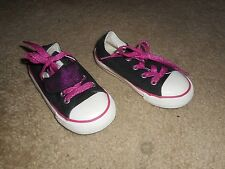 Girls Converse All Star Black/Pink Athletic Shoes Size 8