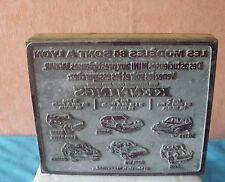 PLAQUE TYPO OFFSET AUTOMOBILES KENNINGS 1984 LYON 13,5*11,2 CM PUB VOITURE 430 J