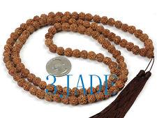 Tibetan Natural Rudraksha Bodhi Seed Mantra Meditation Prayer Beads Mala