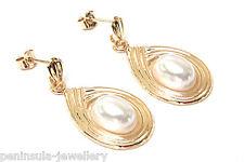 Perlas colgantes pendientes de oro de 9ct en caja de regalo hecho en Reino Unido