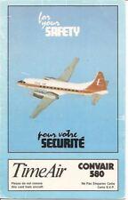 Safety Card - Time Air - Convair CV 580 - 1990 (Canada) (SC451)