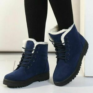 Womens Ankle Boots Cotton Snow Suede Shoes Lace Up Winter Flat Outdoor Warm New