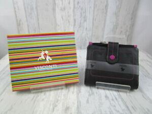 Visconti Genuine Soft Leather Black Berry Multi Zipped Purse/wallet New In Box