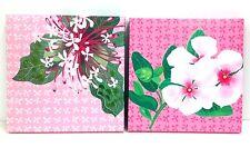 """Tropical Flower Wall Art Decor w/Hanger. Set of 2.  12"""" x 12"""""""