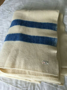 Saskatchewan Wool Blanket - Cream colour with two blue stripes
