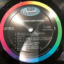 MANFRED MANN 1965 LP RETURN RARITY ORIG CANADA CAPITOL T-6102 MONO VG++ NO COVER