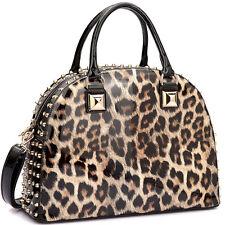 New Womens Handbag Leather Satchel Tote Bags Shoulder Bag Work Day Purse w/ Stud