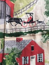 Vtg 40s 50s Drapery Panel Barns Buggy Farm KITSCH 24 X 96 Loops Thick Cotton