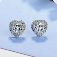 Heart Crystal Stone Stud Earrings 925 Sterling Silver Womens Girl Jewellery Gift