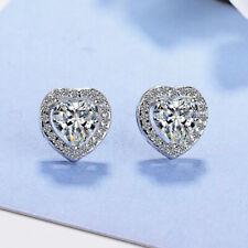 Heart Crystal Stone Stud Earrings 925 Sterling Silver Womens Girl Jewellery Gift